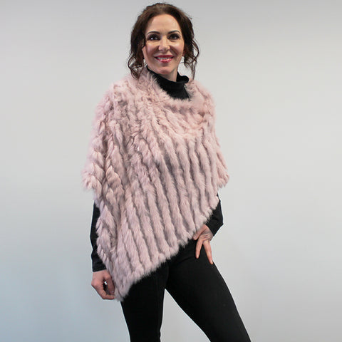 Rabbit Fur Poncho - Blush