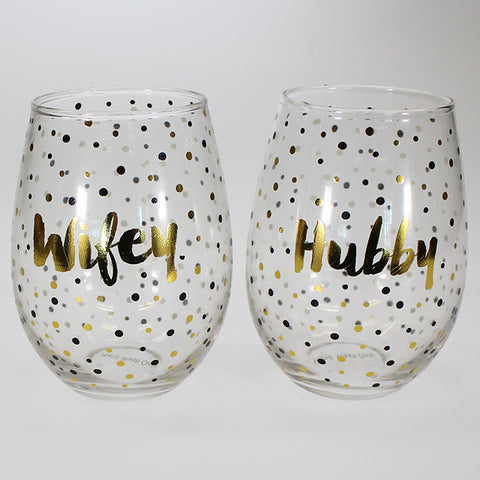 """Hubby, Wifey"" Stemless Wine Balloons Set of 2"