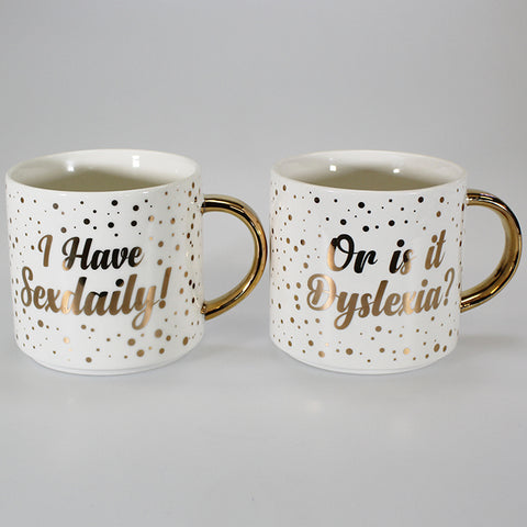 Sexdaily/Dyslexia Fine China Mugs - Set of 2
