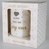 """Happy Birthday Gorgeous"" Mug with Diamante Heart"