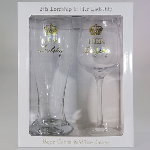 """His Lordship"" Beer Glass & ""Her Ladyship"" Wine Glass Boxed Gift Set"