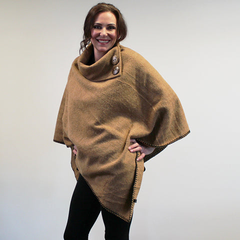 Button Neck Felted Poncho - Biscuit