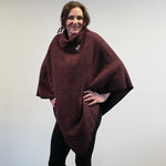Button Neck Felted Poncho - Burgundy