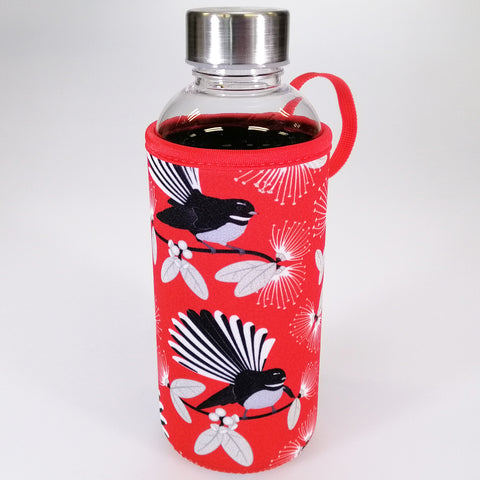 "Water Bottle with Insulation Cover - ""Flirting Fantails"" - 600mL"