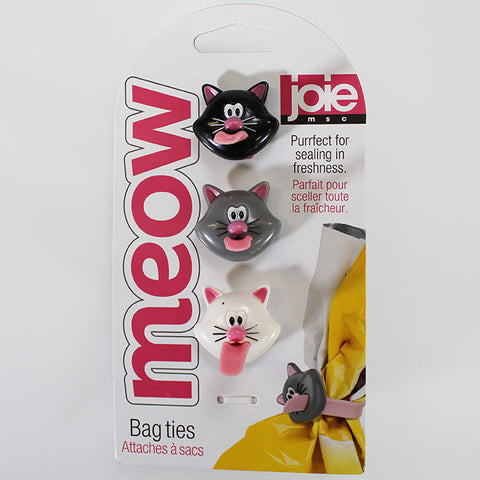 "Set of 3 ""MEOW"" Silicone Bag Ties"