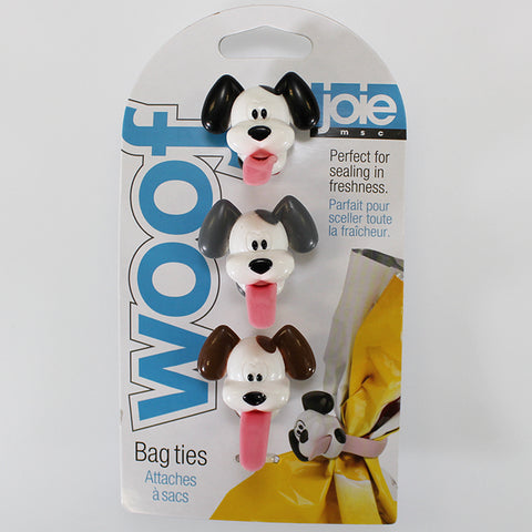 "Set of 3 ""WOOF"" Silicone Bag Ties"
