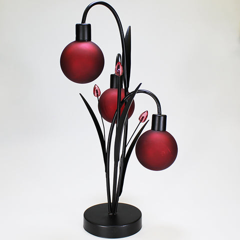 Battery Operated LED Red Orb Lamp - Triple