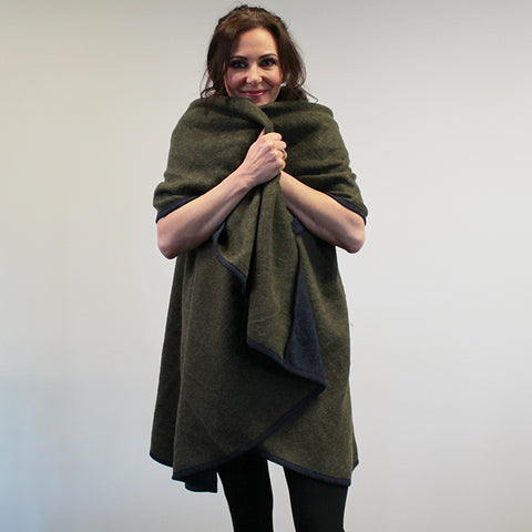 Felted Poncho Wrap - Olive and Blue