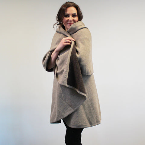 Felted Poncho Wrap - Brown and Beige