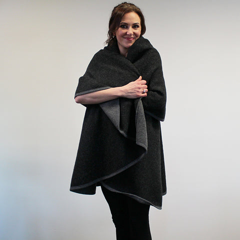 Felted Poncho Wrap - Black and Grey