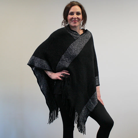 Tassled Knit Poncho - Black with Silver Lurex Stripe