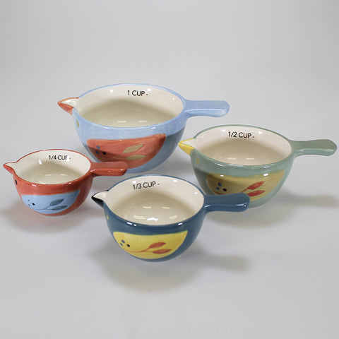 Set of 4 Ceramic Finch Measuring Cups