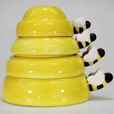Set of 4 Ceramic Beehive Measuring Cups