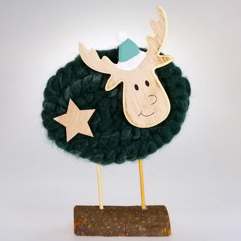 Wooly Reindeer Ornament - Green