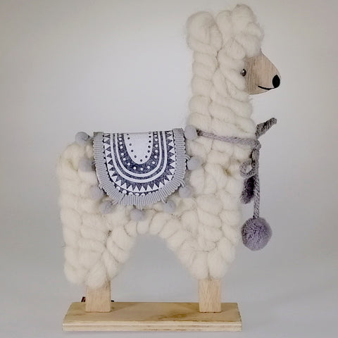 Christmas Llama Ornament - White