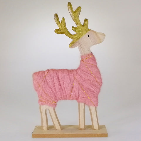 Reindeer Ornament - Pink and Gold