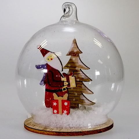 Hanging Glass Ornament - Santa in the Snow - Light Up