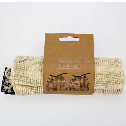Reusable Folding Net Produce Bags x 2
