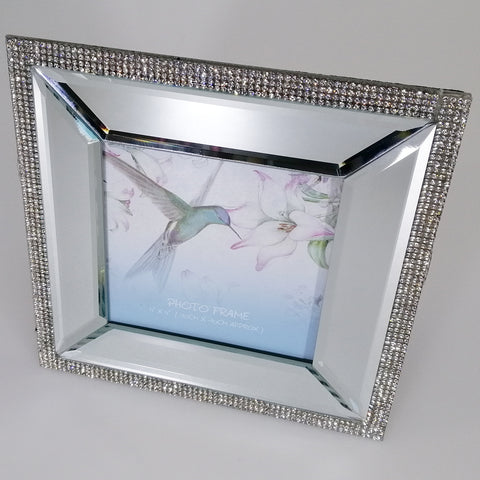 Mirrored Frame with Diamante - 10cm x10cm