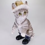 Grey Cat in Hat with Gumboots