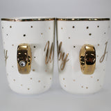 Hubby/Wifey Ring Handle Fine China Mugs - Set of 2
