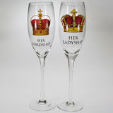 """His Lordship"" & ""Her Ladyship"" Wine Flutes - Set of 2"
