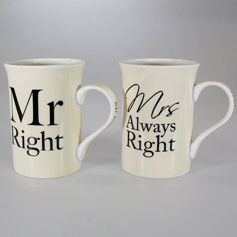 """Mr Right"" & ""Mrs Always Right"" Mug Set of 2"