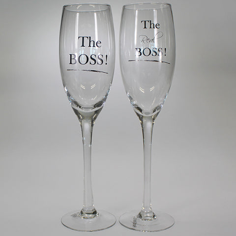 """The Boss"" & ""The Real Boss"" Wine Flutes - Set of 2"
