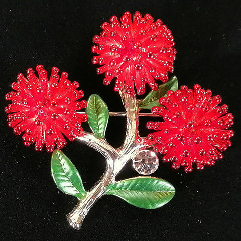 Pohutukawa Brooch with Diamante