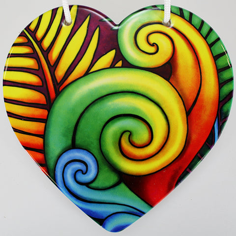 Bright Koru Ceramic Heart Wall Hanging