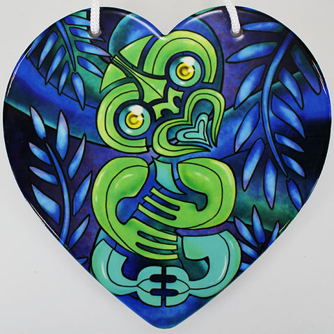 Bright Tiki Ceramic Heart Wall Hanging