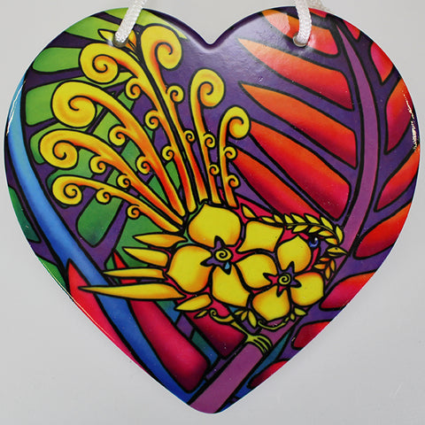 Bright Fantail Ceramic Heart Wall Hanging