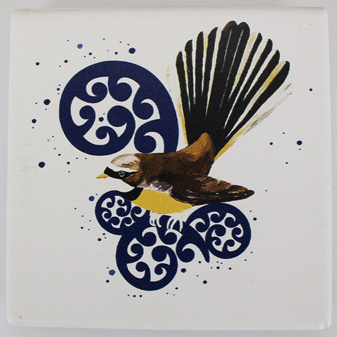 Ceramic Coaster - Fantail on Koru