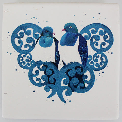 Ceramic Coaster - Kereru Pair on Koru