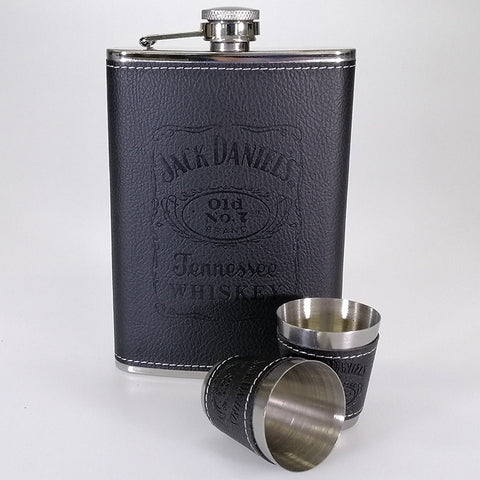 Stainless Steel Hip Flask - Jack Daniels - Faux Leather Cover - 265mL