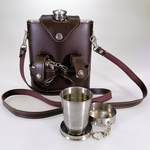 Stainless Steel Hip Flask Set - Faux Leather Holder - 530mL