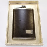 Stainless Steel Hip Flask - Faux Leather Cover - 265mL