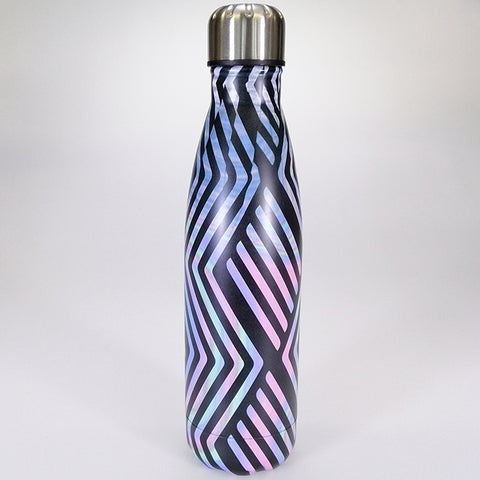 Stainless Steel Drink Bottle - Purple Zigzag - 500ml