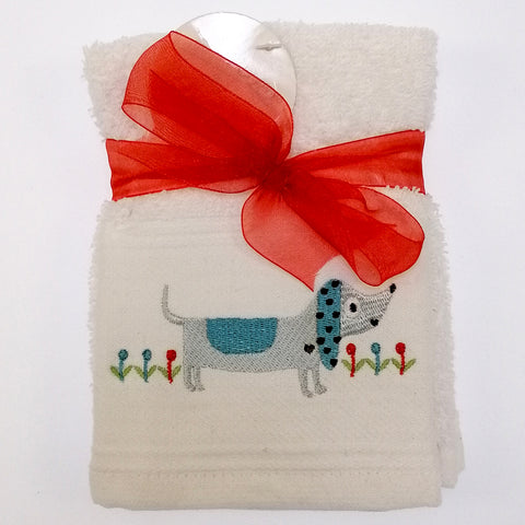 Embroidered Facecloth - Blue Dog - Set of 2