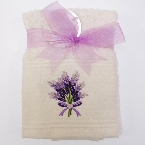Embroidered Facecloth - Lavender- Set of 2