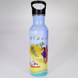 Stainless Steel Drink Bottle with Sipper Top - Kiwi Beach Scene