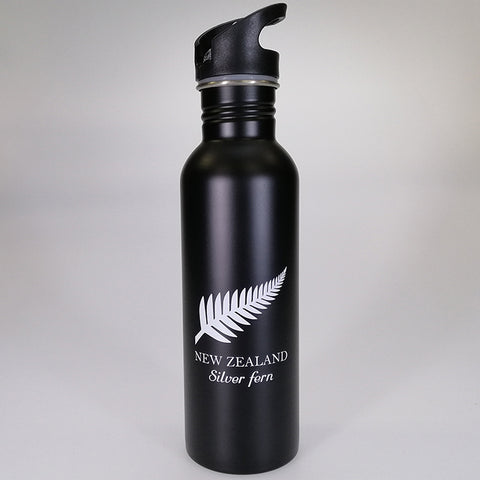 Stainless Steel Drink Bottle with Sipper Top - Silver Fern