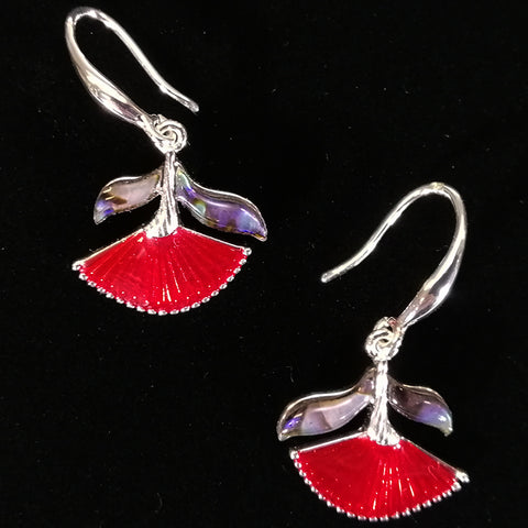 Pohutukawa Earrings with Paua Inlay
