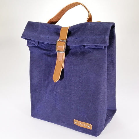 Buckled Canvas Lunch Bag - Navy