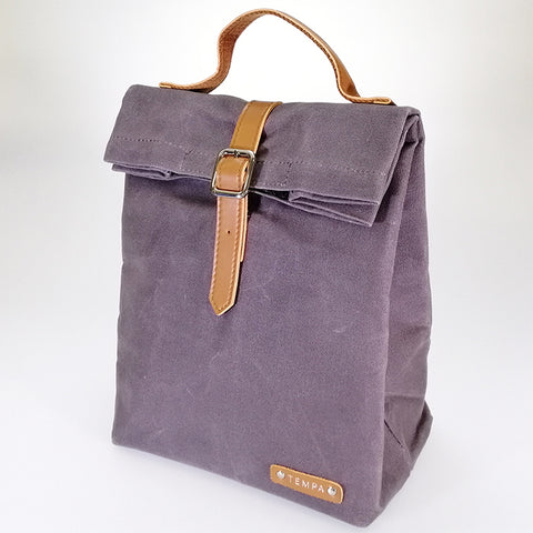 Buckled Canvas Lunch Bag - Slate