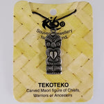 Pewter Pendant - Tekoteko (Carved Figure) - Adjustable Necklace