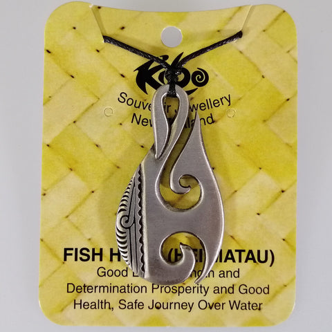 Pewter Pendant - Hei Matau (Fish Hook) - Adjustable Necklace
