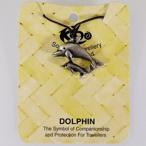 Pewter Pendant - Dolphins - Adjustable Necklace