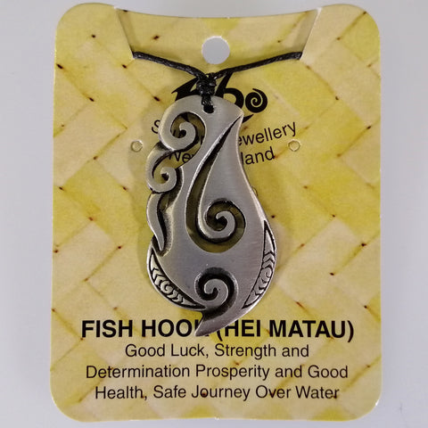 Pewter Pendant - Hei Matau Broad (Fish Hook) - Adjustable Necklace