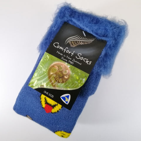Comfort Bed Socks - Denim Emoji